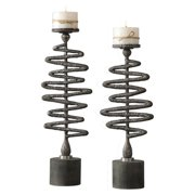 Uttermost 18816 Zigzag Two Piece Concrete Candlestick Set By Billy Moon - Silver
