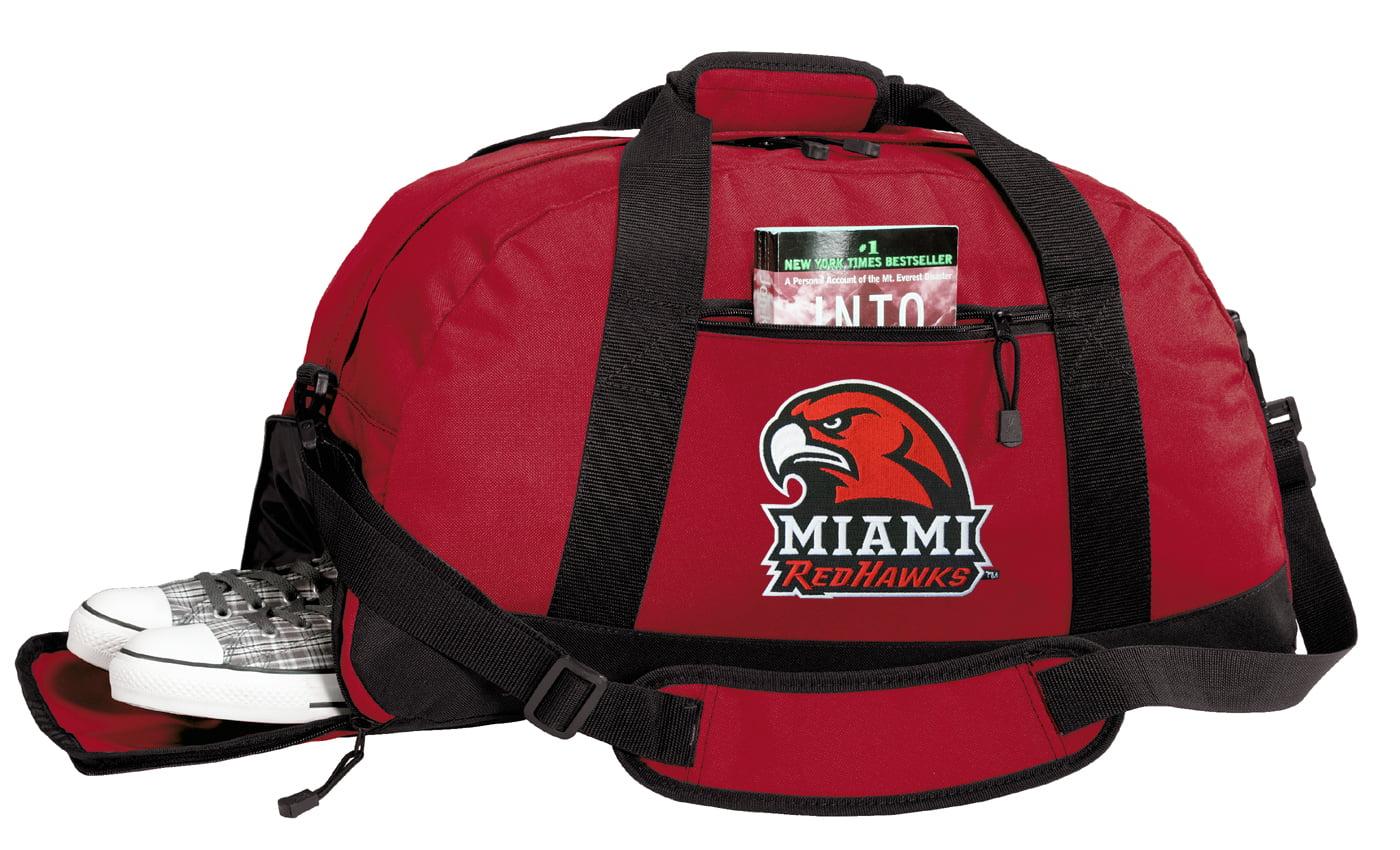 Miami Redhawks Gym Bags Miami University Duffle Bag WITH SHOE POCKET! by