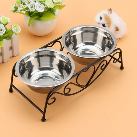 - Knifun Pet Feeder Dog Bowls Raised Dog Cat Feeding Station Double Dish Bowl Stand - Stainless Steel Food and Water Bowls with Iron Stand - Pet Puppy Cat Food & Water Diner Stand Set