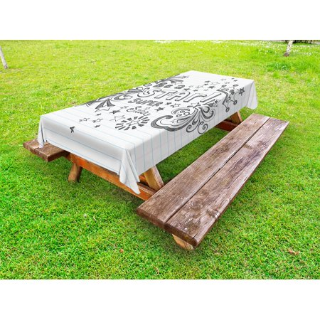 Teen Room Outdoor Tablecloth, Be A Super Star Phrase on a Notebook Paper Backdrop with Stars and Crown Print, Decorative Washable Fabric Picnic Table Cloth, 58 X 84 Inches,Grey White, by Ambesonne