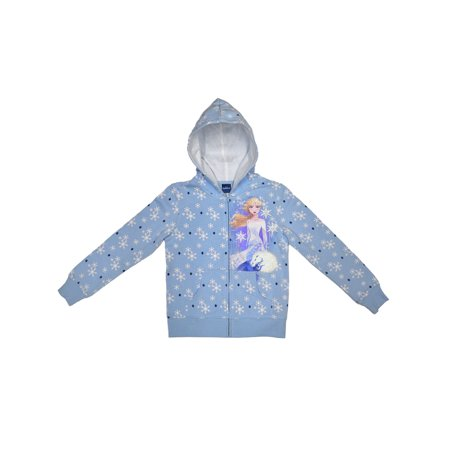Disney Frozen II Elsa Zip Hoodie Snowflake Blue (Little Girls,Big Girls) Blue Zip Hooded Sweatshirt