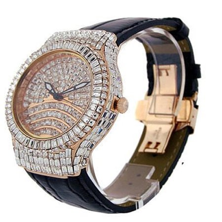 Mens Rose Gold Tone Full Iced Princess Cut Baguette Simulated Diamond Bling Master Genuine Leather Band