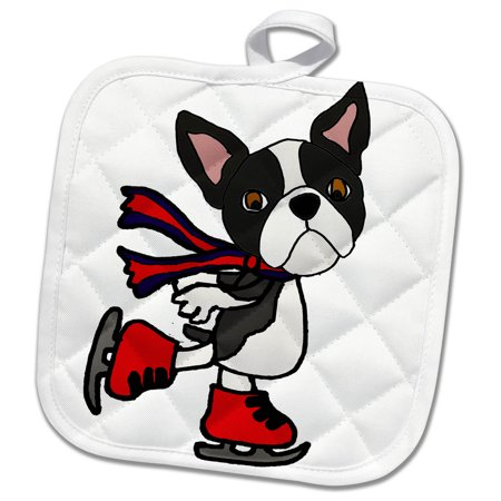 3dRose Funny Cute Boston Terrier Puppy Dog Ice Skating cartoon - Pot Holder, 8 by 8-inch