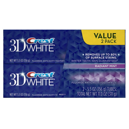 Flavored Toothpaste (Crest 3D White Radiant Mint Flavor Whitening Toothpaste Twin Pack 11 Oz )