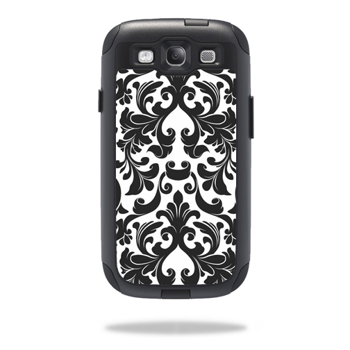Mightyskins Protective Vinyl Skin Decal Cover for OtterBox Commuter Samsung Galaxy S III S3 Case wrap sticker skins Black Damask