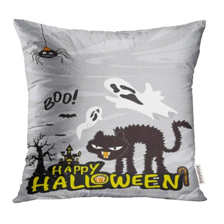 CMFUN Bat Halloween with Cat Haunted House Cartoon Castle Celebration Comic Costume Pillow Case Pillow Cover 16x16 inch Throw Pillow Covers
