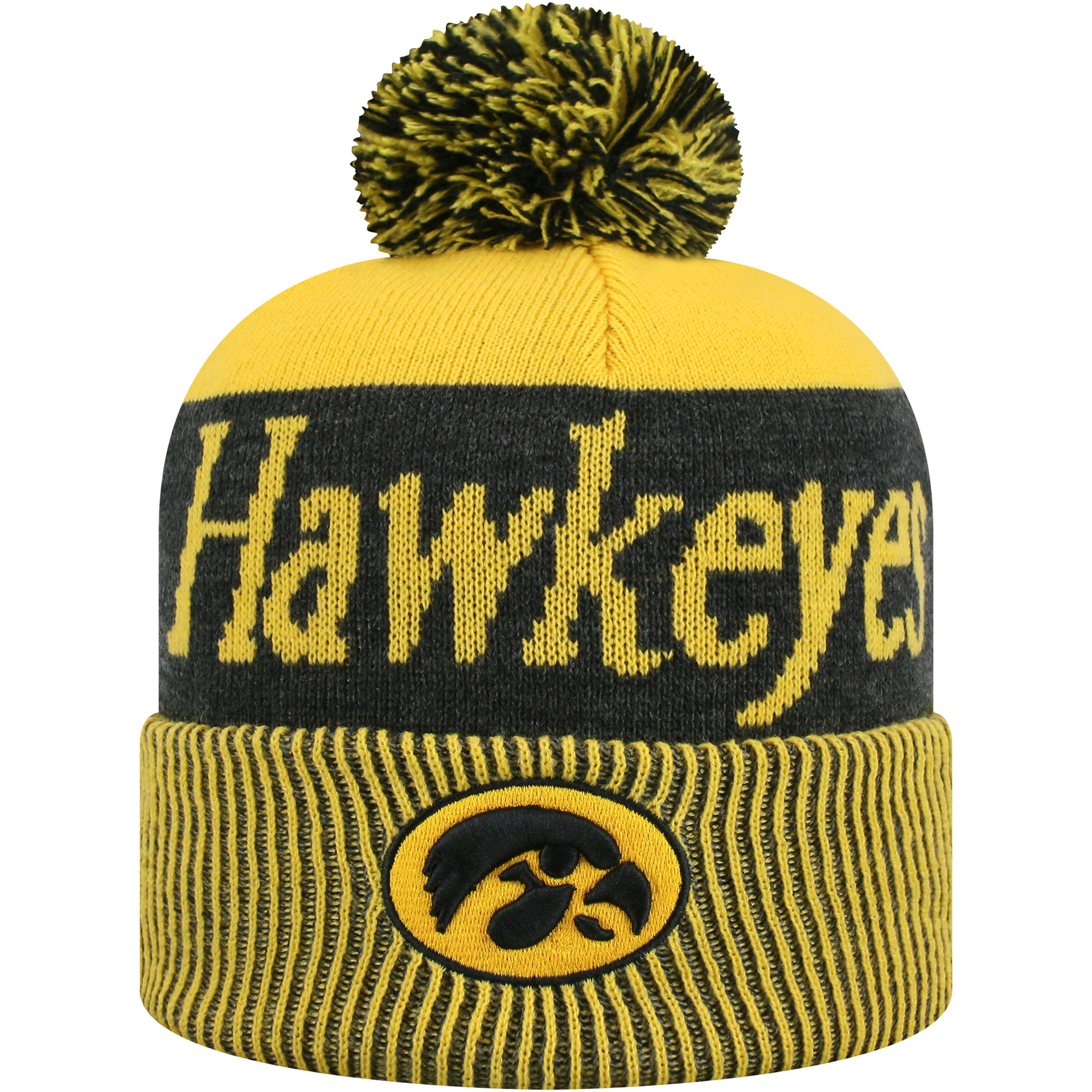 brand new 2ee9c e9c1d ... france womens russell gold black iowa hawkeyes frore cuffed knit hat  with pom osfa 12ec9 064e6