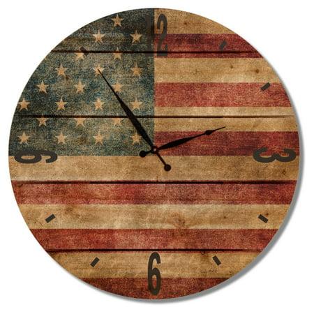 Image of Gizaun Art Rustic Flag Outdoor Wall Clock