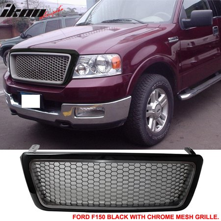 Abs Mesh Grill (Fits 04-08 Ford F150 F-150 Black Chrome Mesh Hood Grille ABS Grill)