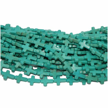 Magnesite Cross (12x25mm Cross Magnesite White Buffalo Blue, Loose Beads, 15 inch Strand Losse, Loose)