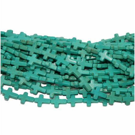 Tube Loose Beads Strand (12x25mm Cross Magnesite White Buffalo Blue, Loose Beads, 15 inch Strand Losse, Loose Beads, )