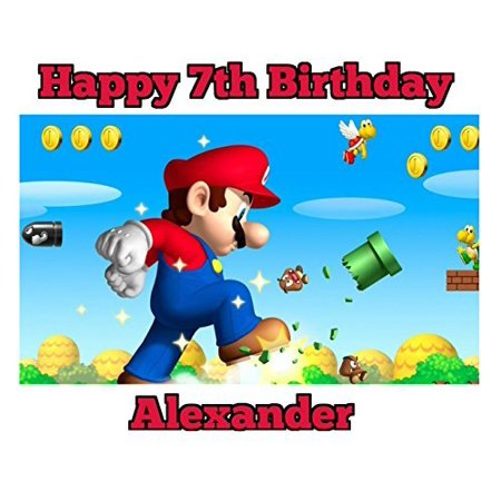 Super Mario Edible Image Photo Cake Topper Sheet Personalized Custom Customized Birthday Party - 1/4 Sheet - 74839 (Halloween Birthday Sheet Cake Ideas)