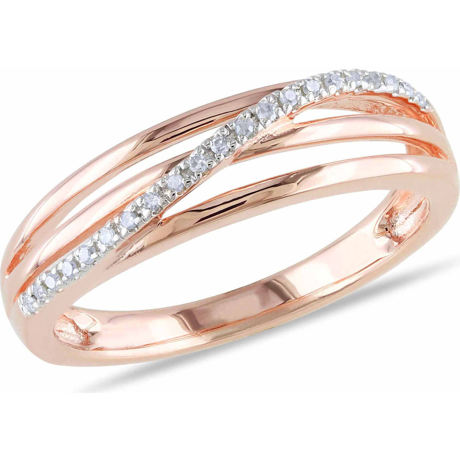 Miabella Diamond-Accent Pink Rhodium-Plated Sterling Silver Cross-Over Ring