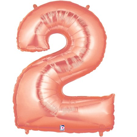 Giant Rose Gold Number 2 Foil Balloon 40