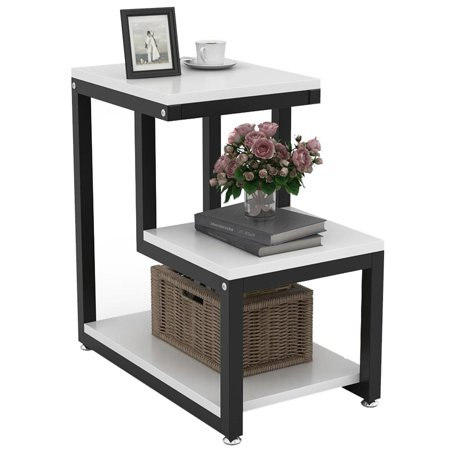 Tribesigns Modern End Tables, 3-Tier Chair Side Table Night Stand with  Storage Shelf for Living Room, Bedroom, Entryway (White)