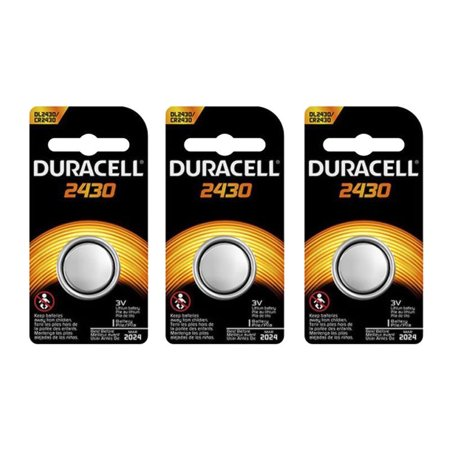 3 X  Duracell 2430 CR2430 DL2430 3V Lithium Coin Cell Battery