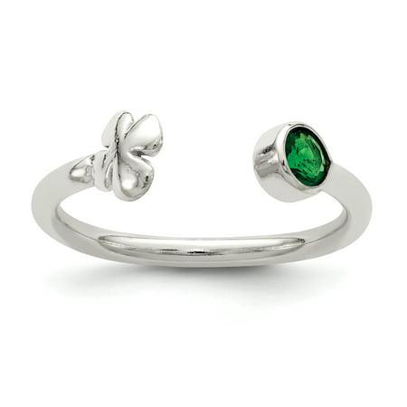 925 Sterling Silver Green Glass Bead 4-Leaf Clover Adjustable Ring