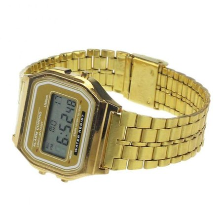 Men Stainless Steel Band LCD Digital Wrist Watch Sport Square Quartz Watches (Stainless Steel Square Face Watch)