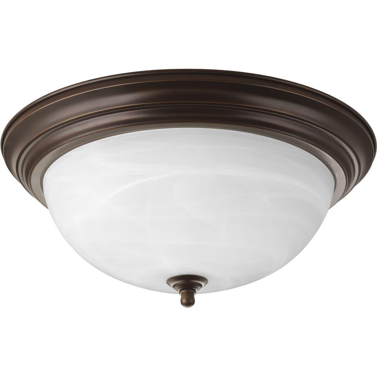 "Progress Lighting P3926 Melon 3 Light Flush Mount Ceiling Fixture with Alabaster Glass Shade - 15"" Wide"