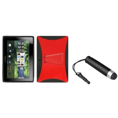 Insten Solid Red Black Gummy Case Stand+Black Mini Stylus For Rim Blackberry Playbook