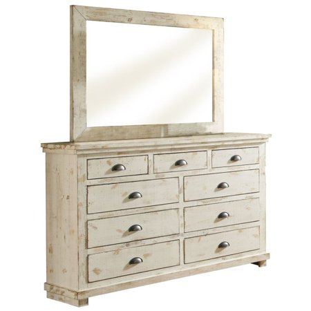 (Progressive Willow 7 Drawer Dresser and Mirror in Distressed White)