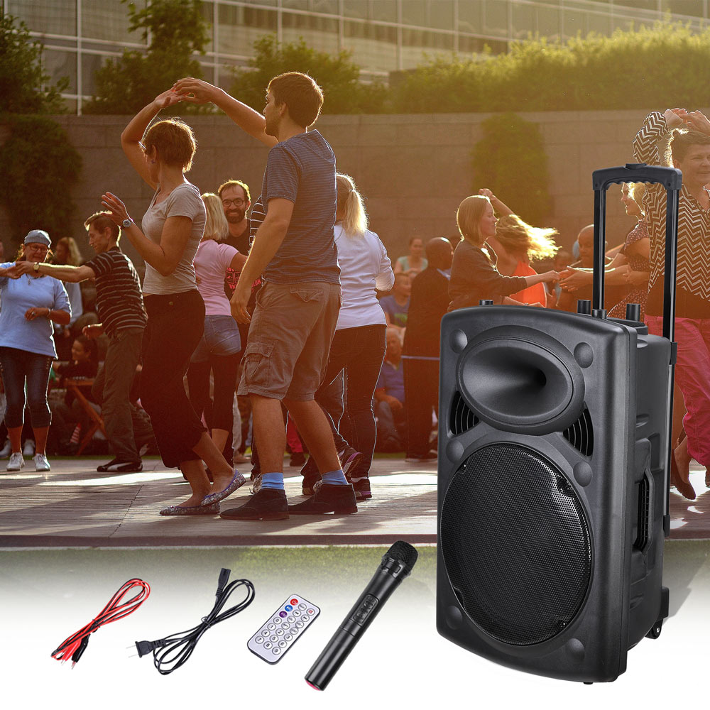 Portable Active PA Speaker Mic Guitar AMP Bluetooth USB SD LCD FM Remote w/ Wireless Microphone