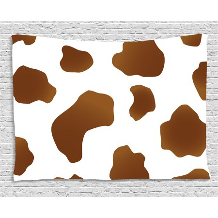 Cow Print Tapestry, Brown Spots on a White Cow Skin Abstract Art Cattle Fur Farm Animals Cowboy Barn, Wall Hanging for Bedroom Living Room Dorm Decor, 60W X 40L Inches, (White Cow Print)