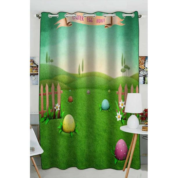 Abphqto Green Rustic Landscape Easter Eggs Window Curtain Kitchen Curtain Window Drapes Panel 52x84 Inch One Piece Walmart Com Walmart Com