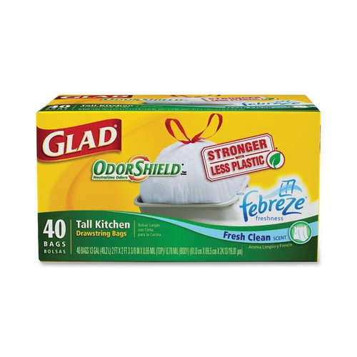 Glad 65% Recycled Plastic 13 Gallon Tall Kitchen Bags, 28 count