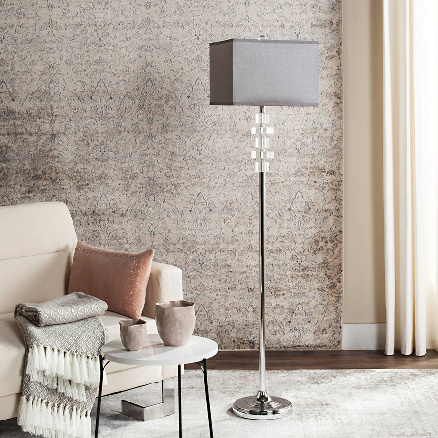 Safavieh Times Square Floor Lamp with CFL Bulb, Clear with Grey Shade
