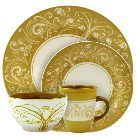 Elama Parisian Swirl 16 Piece Service for 4 Stoneware Dinnerware (Gold Dinnerware)