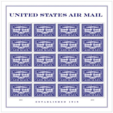 Airmail Flight Stamps (Blue United States Airmail Sheet of 20 Forever USPS First Class one Ounce Postage Stamps (20 Stamps) Wedding)
