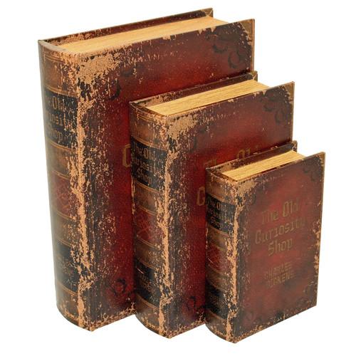EC World Imports 3 Piece Wood and Leather Book Safe Set