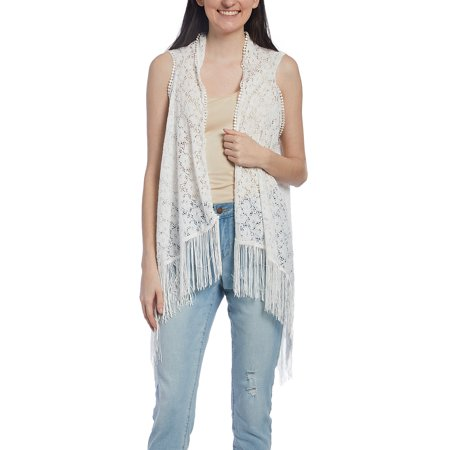 - Ivory Crochet Fringe-Hem Vest for Women Summer Beach Cover-Up Relax Casual Sum Swimwear Outerwear Online by Oussum