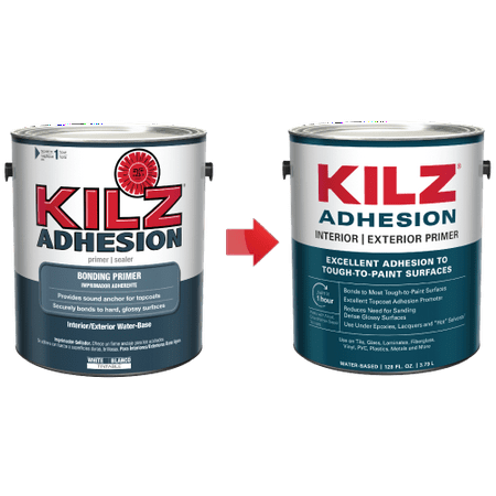 KILZ Adhesion High-Bonding Interior/Exterior Latex Primer/Sealer, White - New Look, Same Trusted