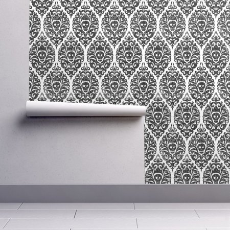 Day Of The Dead Halloween Wallpaper (Wallpaper Roll Skull Damask Gothic Halloween Black White Day Of The 24in x)