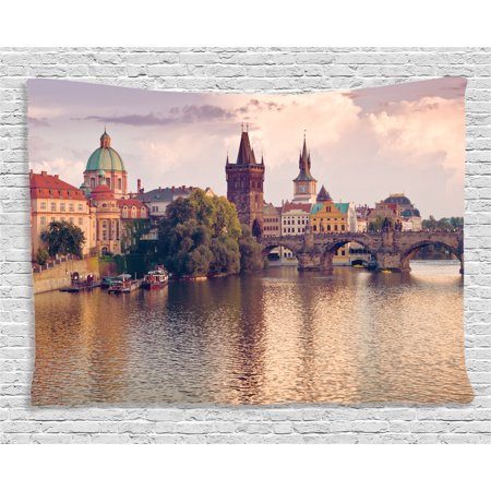 Apartment Decor Tapestry, Pastoral View Charles Bridge and Spires of Prague Europe Gothic Buildings Image, Wall Hanging for Bedroom Living Room Dorm Decor, 80W X 60L Inches, Multi, by - Gothic Mansion Wall Decor