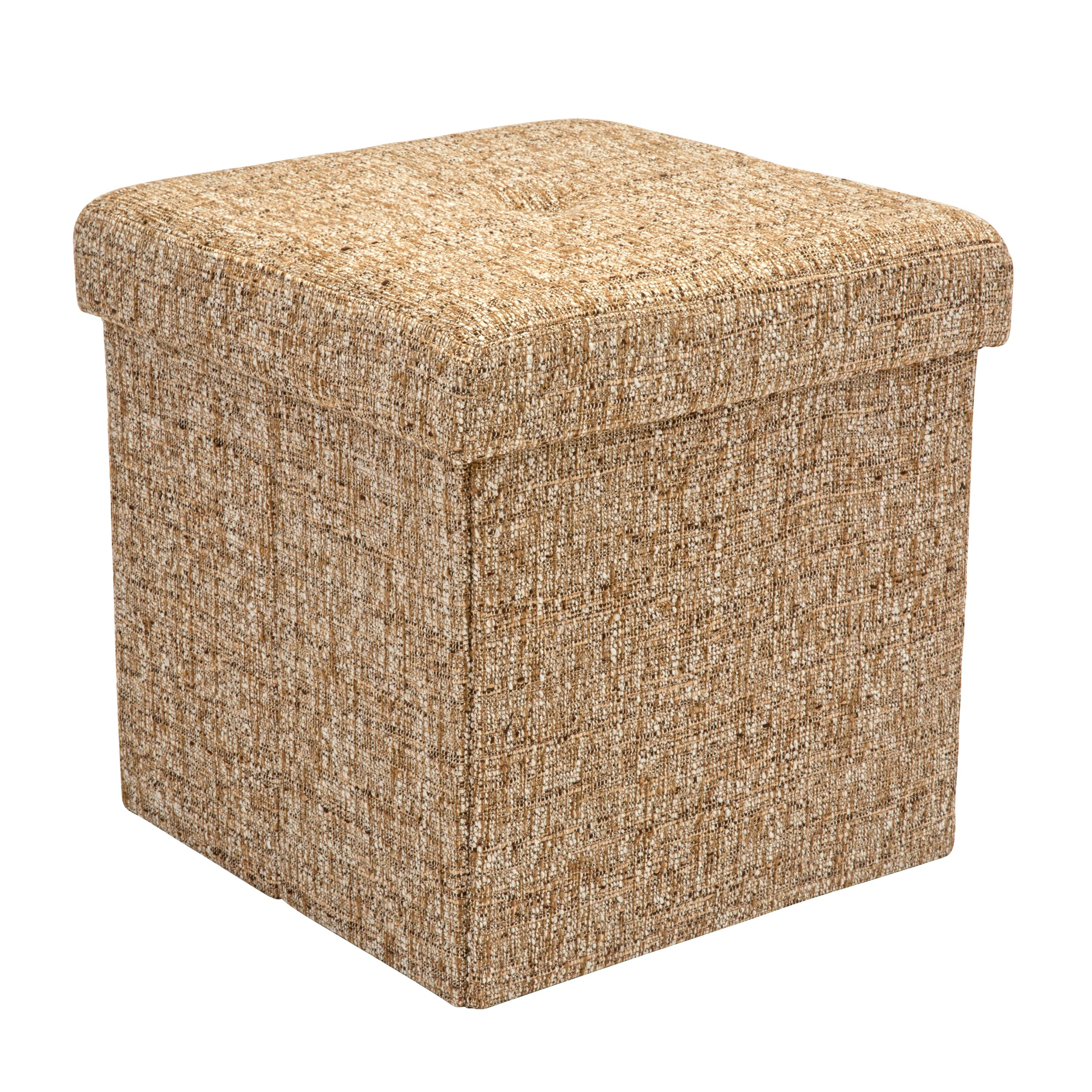 Simplify Gray Boucle Linen ottoman / Storage cube Gray (15x15x15)