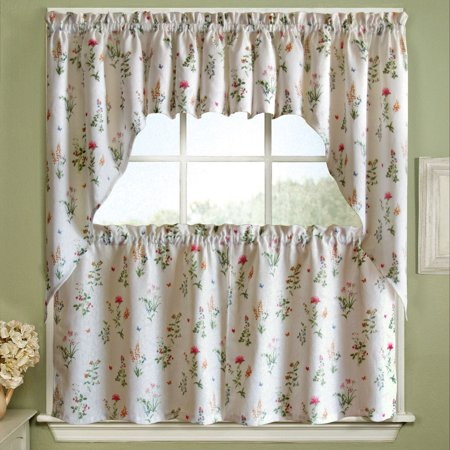 """English Garden Floral Jacquard Kitchen Curtains 24"""", 36"""" Tier Pair, 38"""" Swag Pair or 12"""" Valance White"""