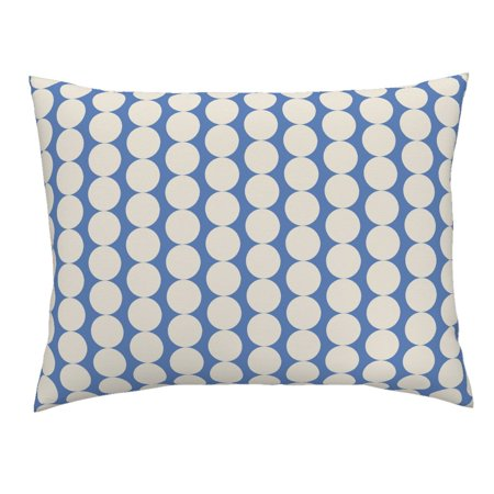 Mod Dot Circles - Mod Dots Modern Home Decor Blue And White Circle Pillow Sham by Roostery