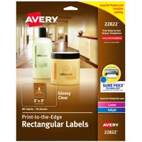 "Glossy Clear Rectangle Labels, Sure Feed, 2"" x 3"", 80 Labels (22822)"