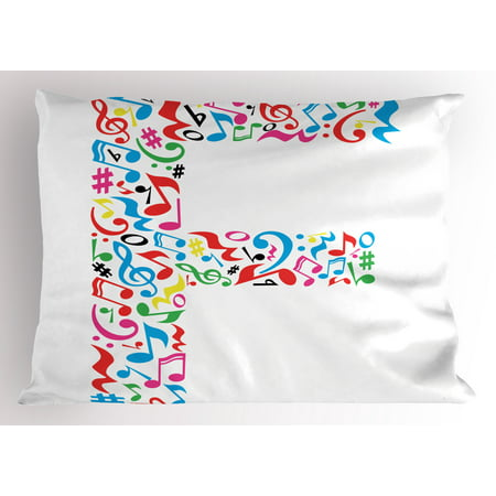 Letter F Pillow Sham Letter F Alphabet With Vibrant Music Notes Harmony Song Design Abc Graphic Print  Decorative Standard Size Printed Pillowcase  26 X 20 Inches  Multicolor  By Ambesonne