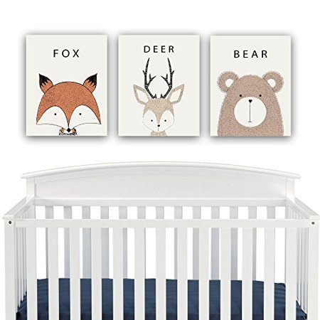 Woodland Creatures Nursery Decor Canvas Wall Art Fox Deer Bear