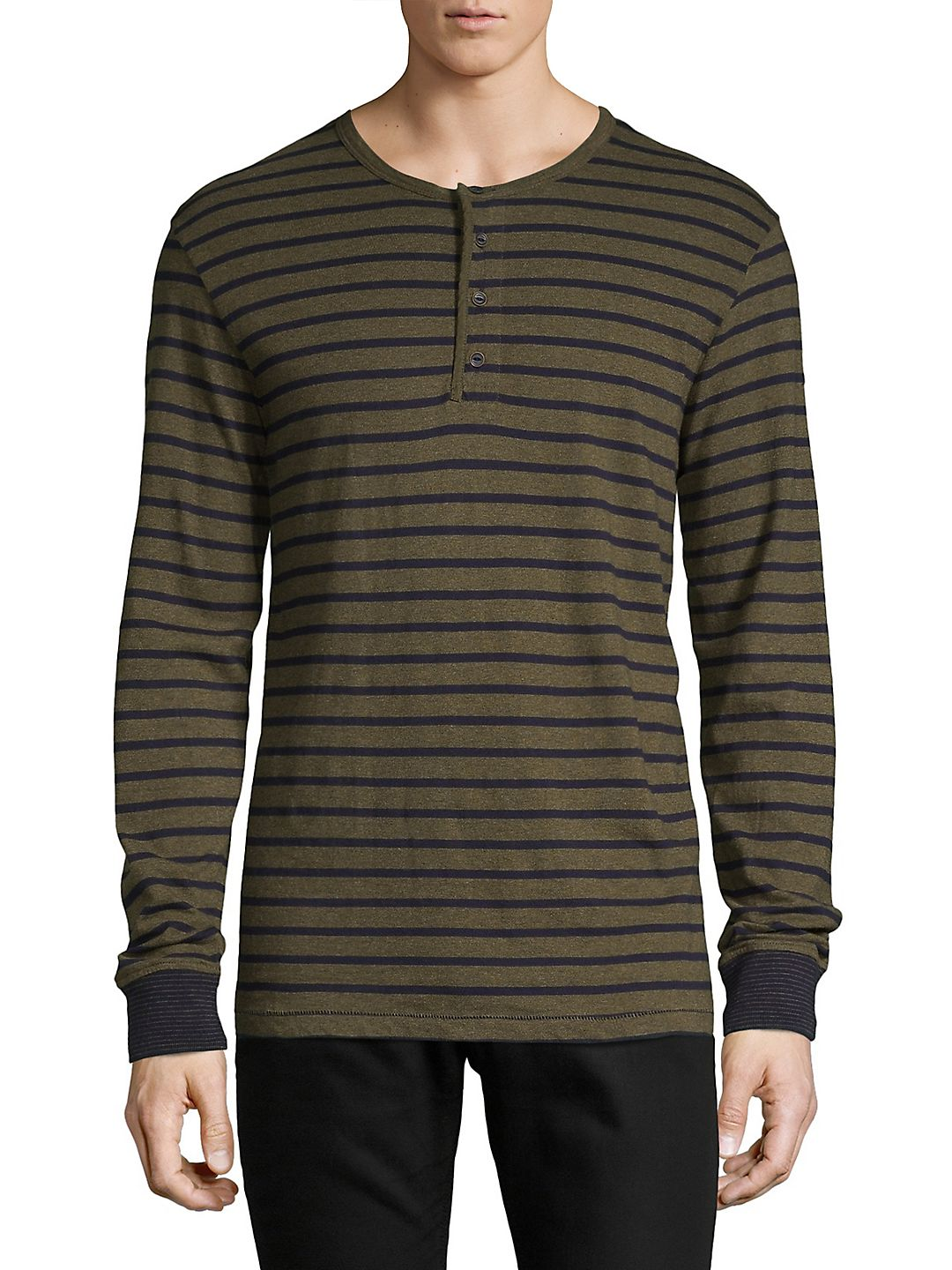 Striped Long-Sleeve Cotton Henley