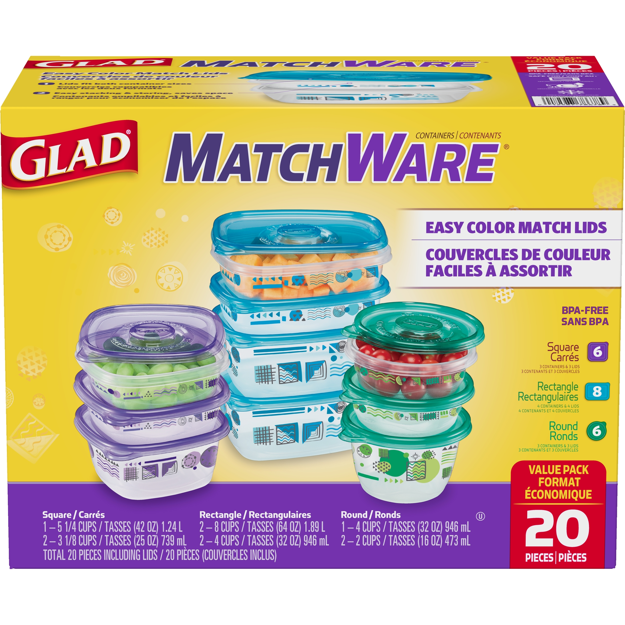 Glad Food Storage Containers - Glad MatchWare Variety Pack - 10 Containers - 20 Piece Set