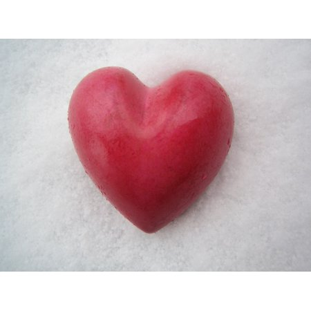 Laminated Poster Red Love Valentine's Day Symbol Shape Snow Heart Poster Print 11 x 17 ()