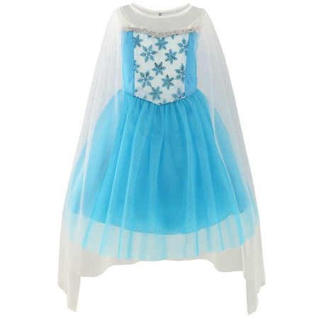 Girls Dress Elsa Princess Costume Party Birthday 3 (Elsa Hosk Halloween)