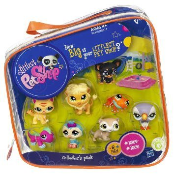Hasbro Littlest Pet Shop #2 Collectors Pack Of 8 Pets Frog, Parrot, Owl, Lion, Gecko, Ferret, Dog Cat - Lps Dog