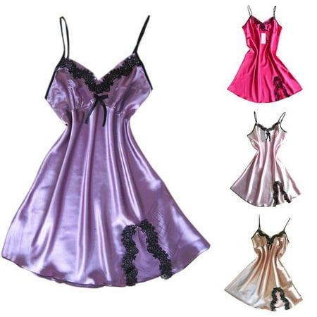Women Silk Robe Dress Women Babydoll Nightdress Nightgown Sleepwear Sexy Lingerie