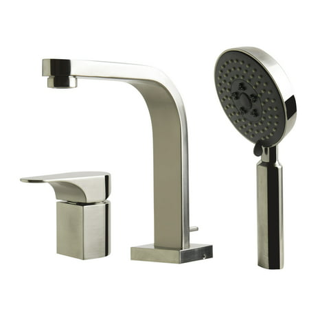ALFI brand AB2703 Deck Mounted Roman Tub Filler with Metal Lever Handles and Per